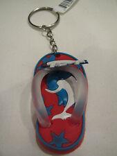 Flip flop dolphin keyring keychain beach sandal vinyl seashore Red White Blue