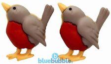 Bluebubble ROCKING ROBIN Red Breast Bird Stud Earrings Funky Xmas Novelty Gift