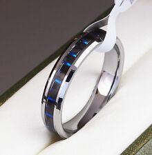 BOXED Genuine Tungsten Carbide Ring Inlay Women Wedding blue size M O Q S T W V