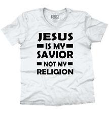 Jesus My Savior Not My Religion Christian Religious God Pray V-Neck T-Shirt