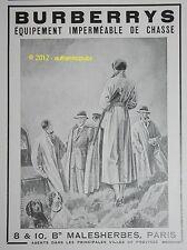 PUBLICITE 1933 BURBERRYS IMPERMEABLE POUR LA CHASSE FRENCH ADVERT AD