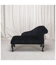 Small Chaise Longue Chair in a Black/Noir Pimlico Fabric