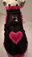 Wintermantel, Hundegeschirr schwarz pink Halsband Geschirr Plüsch Hunde XS S M