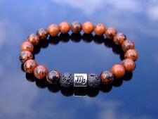 Scorpio Mahogany Obsidian/Lava Birthstone Bracelet 6-9'' Elasticated Healing