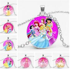 Princess Glass Cabochon Necklace Mermaid Cinderella Belle Elsa & Gift Bag
