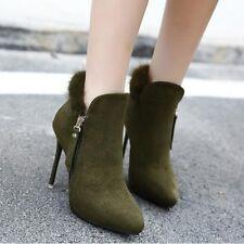 botas bajo tacón de aguja 9.5 cm verde fashion elegantes como piel 9472
