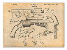 1856 LeMaat Revolver - Gun Patent Print Art Drawing Poster 18X24