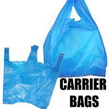 """BLUE PLASTIC VEST CARRIER BAGS 11"""" x 17"""" x 21"""" MEDIUM SHOPS/STALLS/PARTIES"""