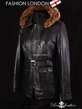 'MISTRAL' Ladies Black FUR HOODED Parka Real Leather Jacket Winter Coat