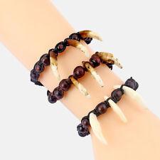 Tribal Imitation Yak Bone Resin Wolf Tooth Teeth Pendant Braided Bracelet Beads