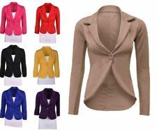 Womens Ladies Blazer Collared One Button Suit Jacket Peplum Slim Fit Coat slmjk