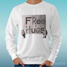 "FELPA UOMO LEGGERA SWEATER BIANCO "" FREE HUGS CARTELLO  "" ROAD TO HAPPINESS"