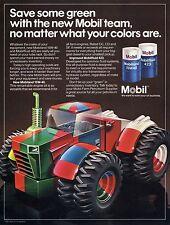 1982 Mobil Oil Mobilfluid 423 Mobiland 15W40 Futuristic Farm Tractor Print Ad