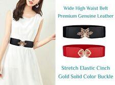 Women Dress Genuine Leather Wide Stretch Elastic Cinch High Waist Belt Waistband