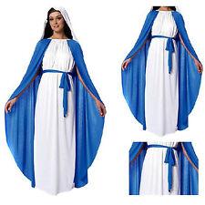 Women Nun Costume Virgin Mary Religious Sister Blue&White Halloween Dres