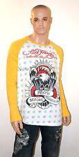 ED HARDY Christian Audigier LONG SLEEVE SHIRT Yellow BALD EAGLE Tiger X-LARGE XL