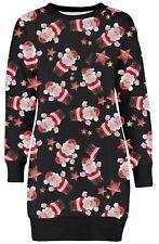 New Womens Multi Santa Star Winter Fleece Xmas Jumpers Long Thermal Tunics 8-22