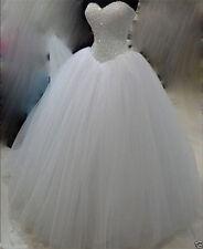 White Ivory Princess Wedding Dress Bridal Gown Custom Size 4 6 8 10 12 14 16 18+