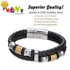 PREMIUM Leather Braided Stainless Steel Bracelet, Men, Women, 3 Sizes, Black