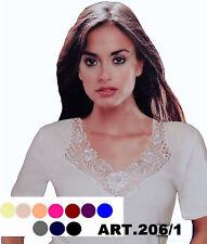 Damen Unterhemd halbarm 1/2 Arm mit breiter Spitze viele Farbe Gr.36-54 S-2XL