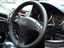 Para Mazda Premacy 99-04 Negro Cuero Italiano cubierta del volante púrpura Stitch