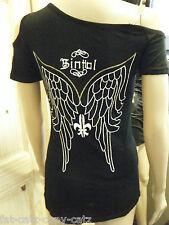 LADIES UNIQUE BIKER GOTH BLACK ONE SLEEVED TOP ANGEL WINGS GOLD DETAILING UKSELL