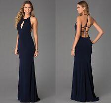 Vestido de noche señoras Azul Marino Maxi formal corte sirena sin espalda de Cóctel 12 14 16 18
