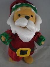 "Winnie the Pooh Santa Claus Suit with beard Disney Store 8"" w Disney tags Plush"