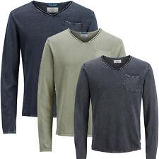 Jack Jones Pullover JORVENUE Herren V-Neck Langarmshirt T Shirt S,M,L,XL,XXL NEU