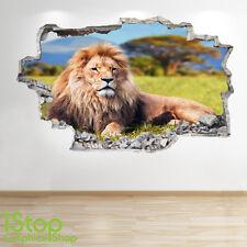 Lion Autocollant Mural 3D LOOK - chambre salon nature animal Z60