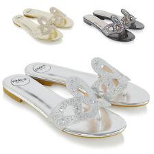 Womens Slip On Diamante Sandals Ladies Toe Post Flat Holiday Beach Slider Mules