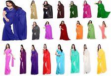 Bollywood Chiffon Saree Sari Party Wear Indian Ethnic Wedding Plain