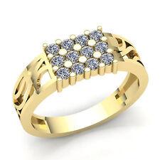 Genuine 3ctw Round Cut Diamond Men's 3 Row Anniversary Ring 14K Gold