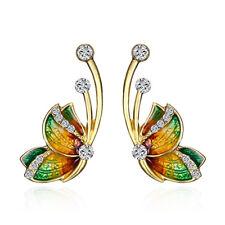 Schmetterling Gold Strass Ohrstecker Butterfly Emailliert Farbwahl