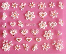 Nail Art Stickers 3D Heart Flower Rhinestone Lace Stripe Wedding Decals XF710