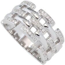Breiter Ring Damenring mit Zirkonia weiß, 925 Silber rhodiniert, Silberring
