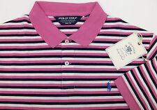 Polo Golf Ralph Lauren Striped Pima Cotton PRO FIT Polo Shirt $89 Pink Blue NWT