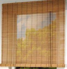 CG Bambusrollo natur oder braun / Kirschbaum Bambus Holzrollo Klemmträger Rollo