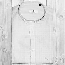 Camisa Casual Hombre Básico Lino Cuello A Coreana Manga Larga Slim Fit Blanco