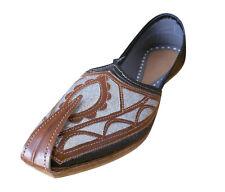 Men Shoes Indian Flip-Flops Punjabi Jutties Loafers Black UK 6.5-9.5 EU 40-43