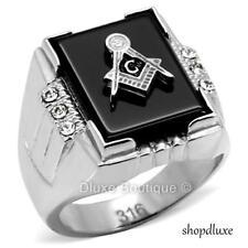 Men's Silver Stainless Steel AAA CZ Masonic Freemason Ring Band Size 8-14