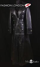 ''EMPERESS' Ladies Black Military Parade Lambskin Full Length Leather Coat