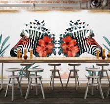 3D Zèbre Fleur 2 Photo Papier Peint en Autocollant Murale Plafond Chambre Art
