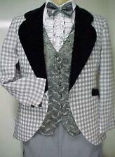 Retro Gray & White Check w/ Velvet After 6 Mens Tuxedo Vintage Jacket Only