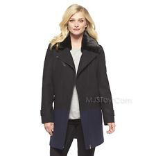 NWT Mossimo Women's Faux Fur Collar Long Coat Black & Navy Super Trandy Jacket