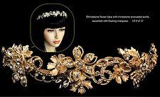 Gold or Silver Rhinestone Flower Design Bridal Tiara Headpiece Headband