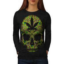 Skull Weed Stoner Rasta Women Long Sleeve T-shirt NEW | Wellcoda