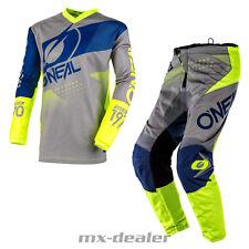2020 O'Neal Element Factor Grau Neon Hose Jersey MX Motocross Enduro Quad Combo