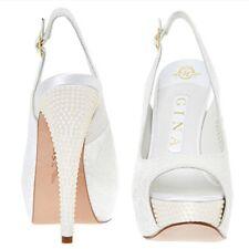 "NEW ""GINA""  White Pais / Cream Pearl Ornate Slingback High Heels Shoes RRP £675"