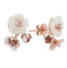 NEW Russian Earrings Rose gold plated 18K Sterling Silver fine jewelry flowers